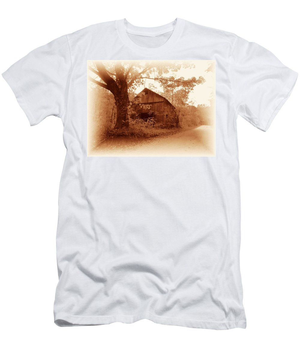 Barn Men's T-Shirt (Athletic Fit) featuring the photograph Barn Hocking Co Ohio Sepia by Nelson Strong