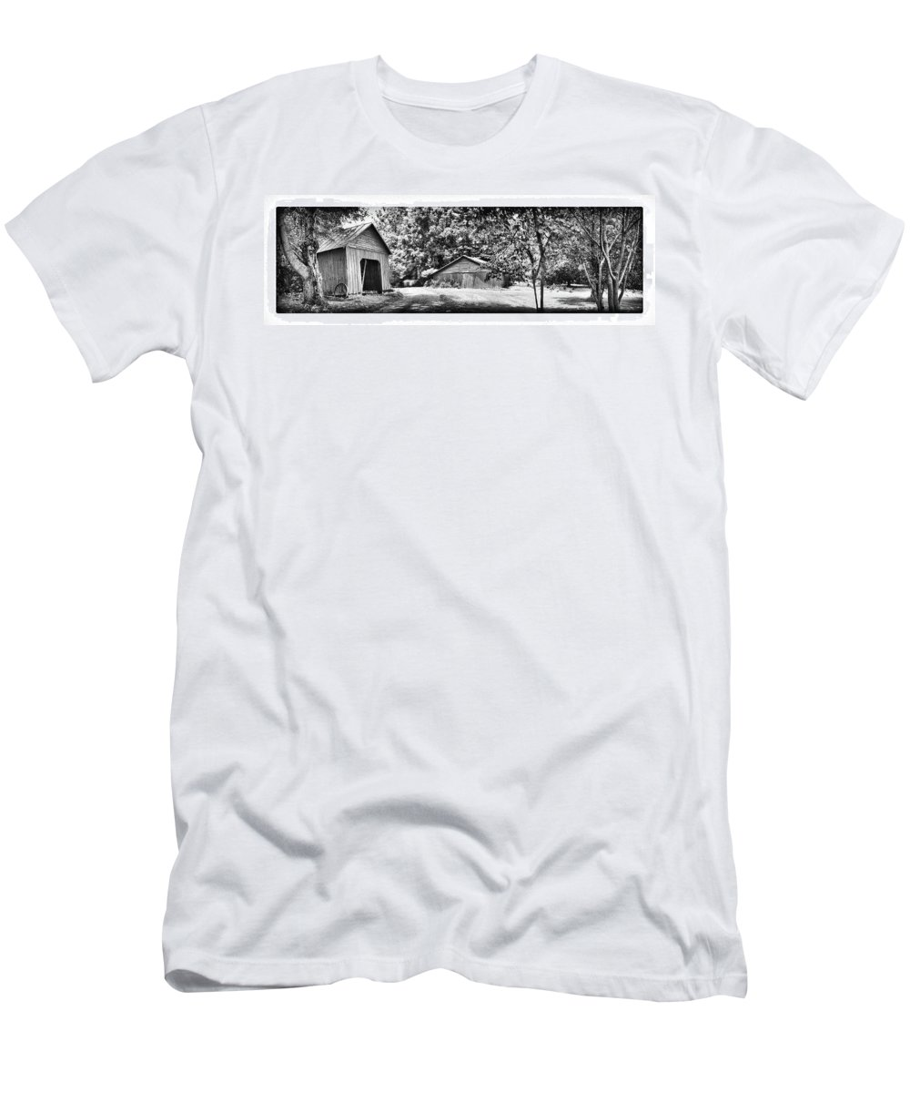 Men's T-Shirt (Athletic Fit) featuring the digital art Barns by Iris Posner