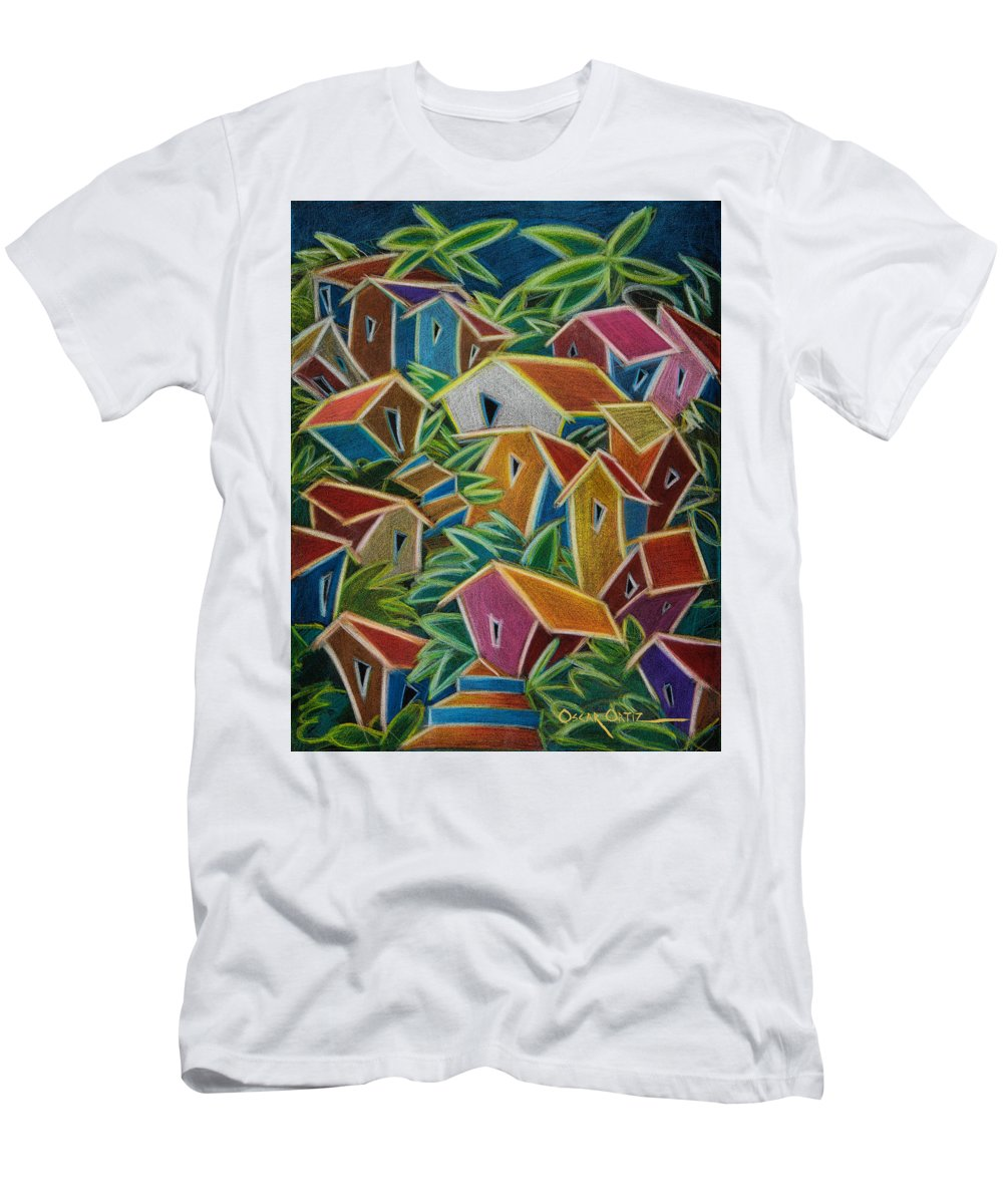 Landscape Men's T-Shirt (Slim Fit) featuring the painting Barrio Lindo by Oscar Ortiz
