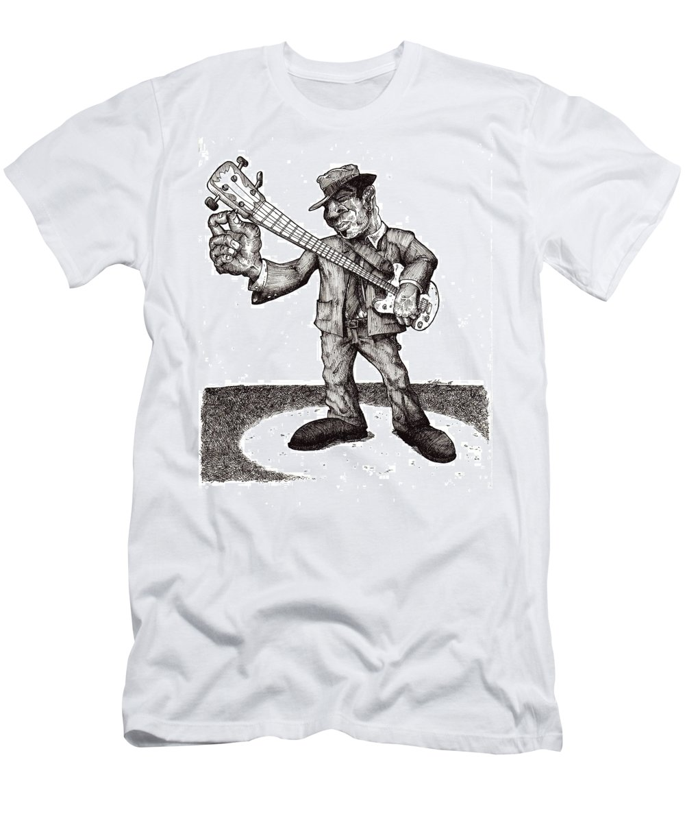 Blues Men's T-Shirt (Athletic Fit) featuring the drawing Bass by Tobey Anderson