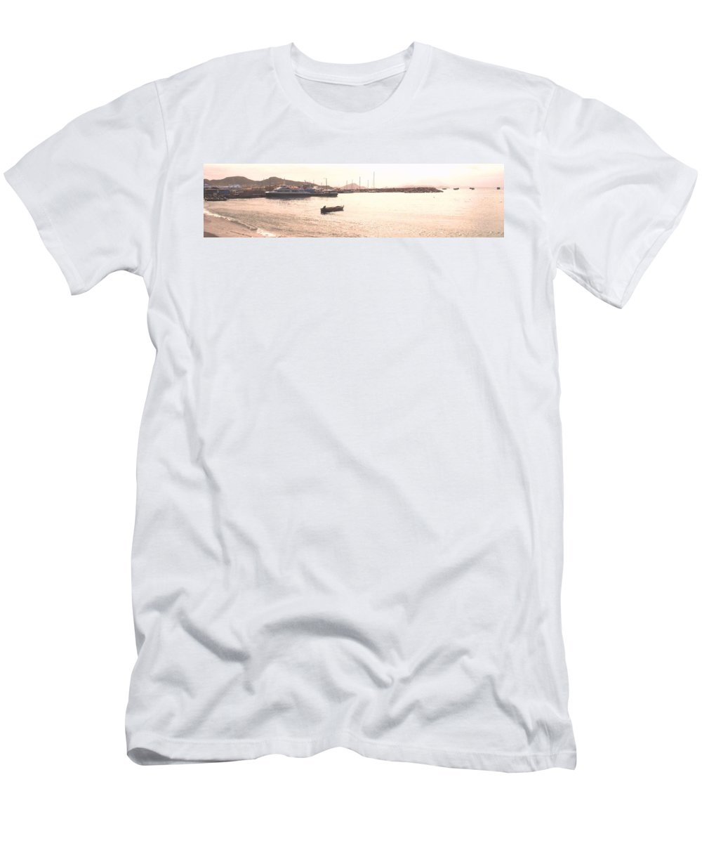 St Kitts Men's T-Shirt (Athletic Fit) featuring the photograph Basseterre Harbour by Ian MacDonald
