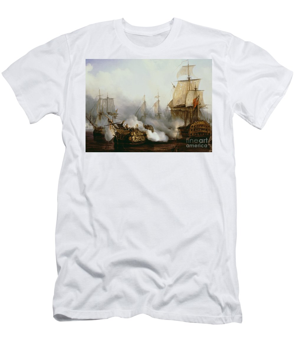 Battle Of Trafalgar By Louis Philippe Crepin T-Shirt featuring the painting Battle of Trafalgar by Louis Philippe Crepin