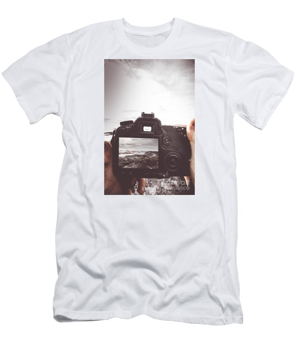 Photography Men's T-Shirt (Athletic Fit) featuring the photograph Beach Digital Photography by Jorgo Photography - Wall Art Gallery
