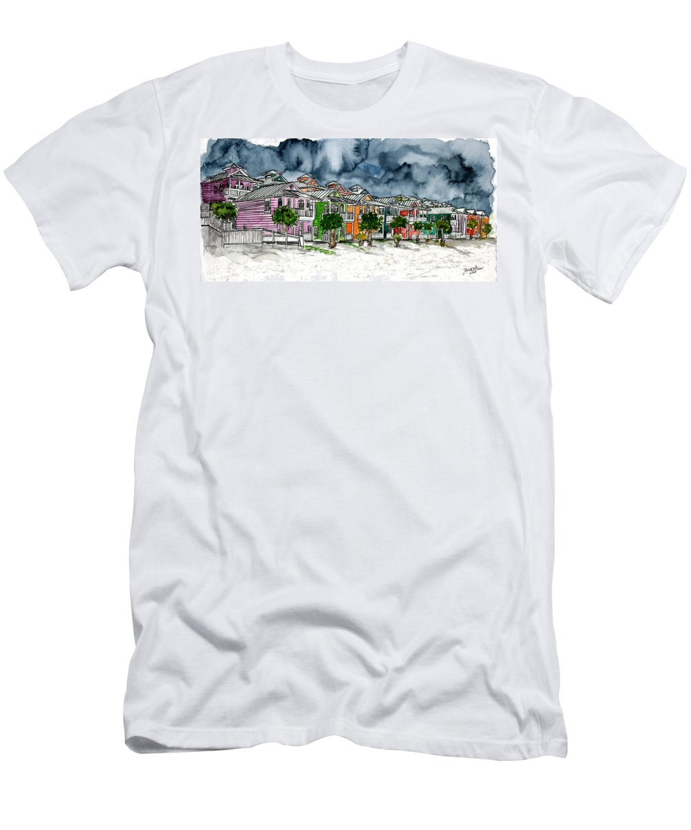 Watercolor T-Shirt featuring the painting Beach Houses Watercolor Painting by Derek Mccrea