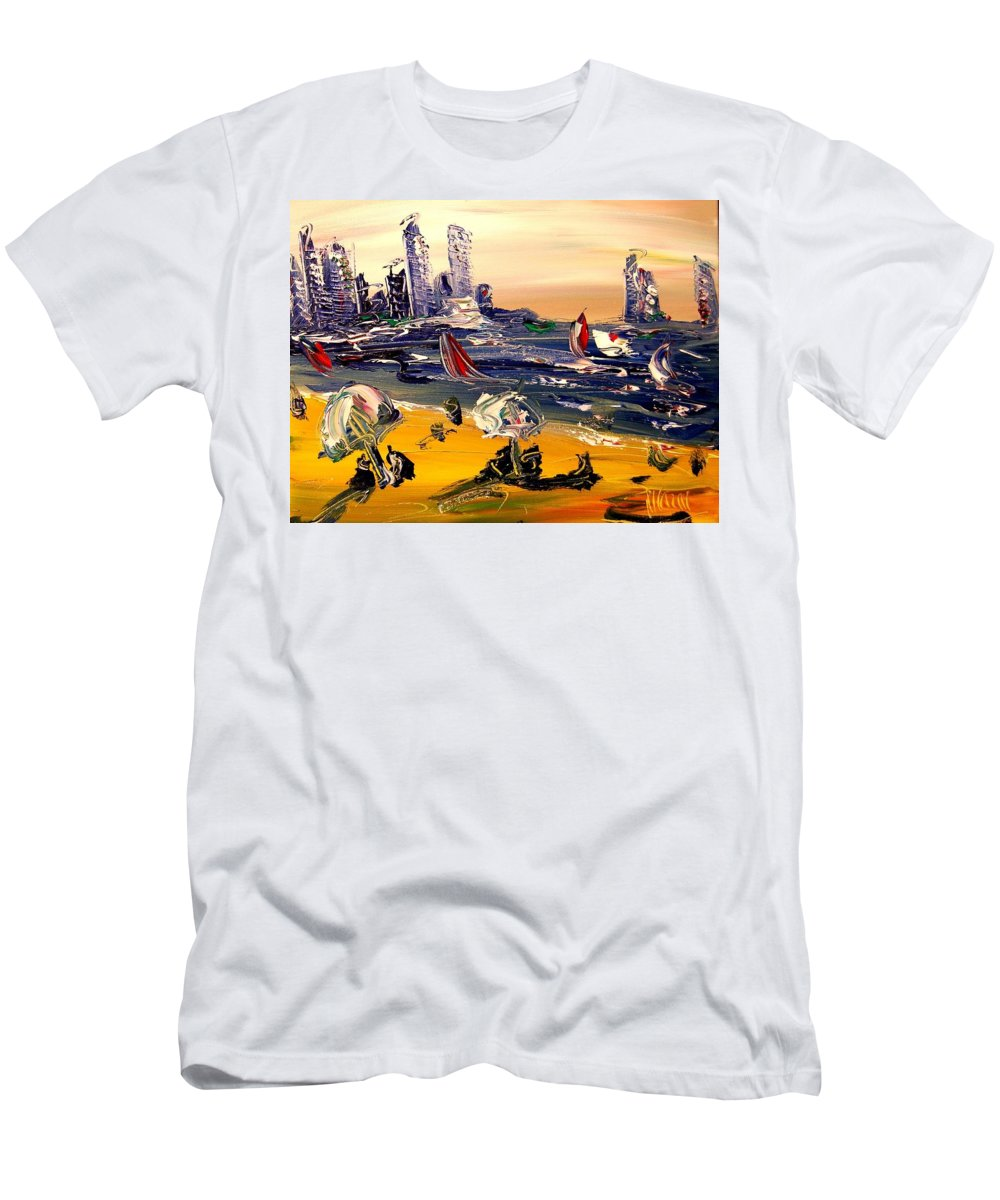 Impressionist Framed Prints Men's T-Shirt (Athletic Fit) featuring the mixed media Beach by Mark Kazav