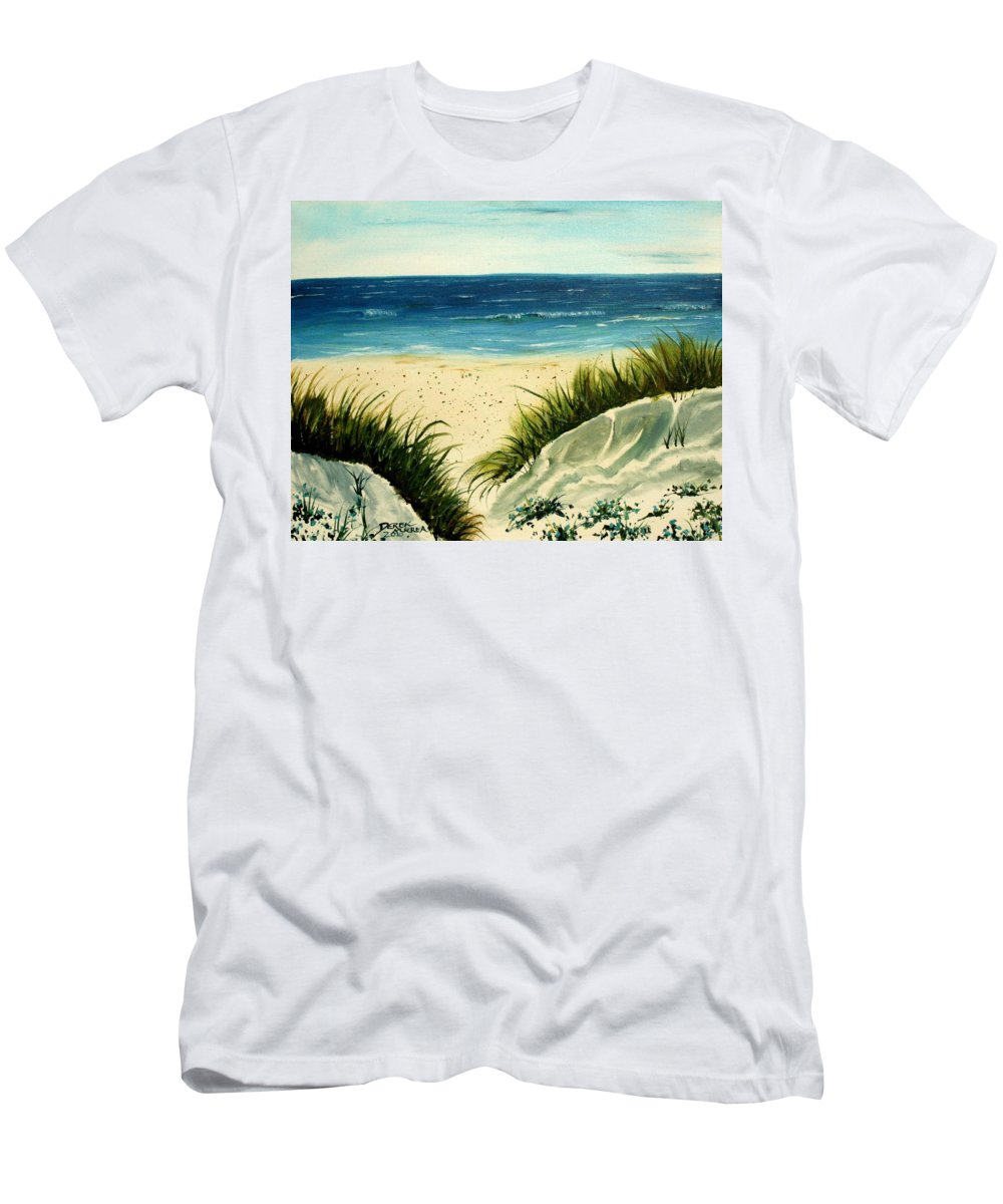 Beach T-Shirt featuring the painting Beach Sand Dunes Acrylic Painting by Derek Mccrea
