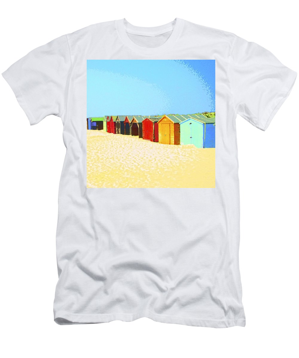 Beach Men's T-Shirt (Athletic Fit) featuring the mixed media Beach Shacks Down Under by Dominic Piperata