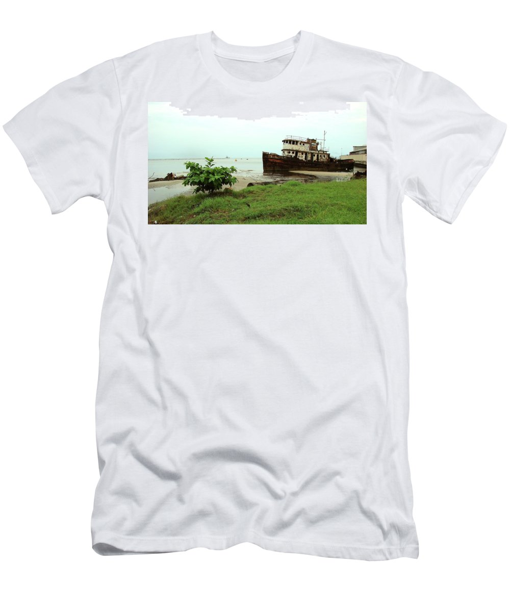 Port Gentil Men's T-Shirt (Athletic Fit) featuring the photograph Beached Ship by Brett Winn
