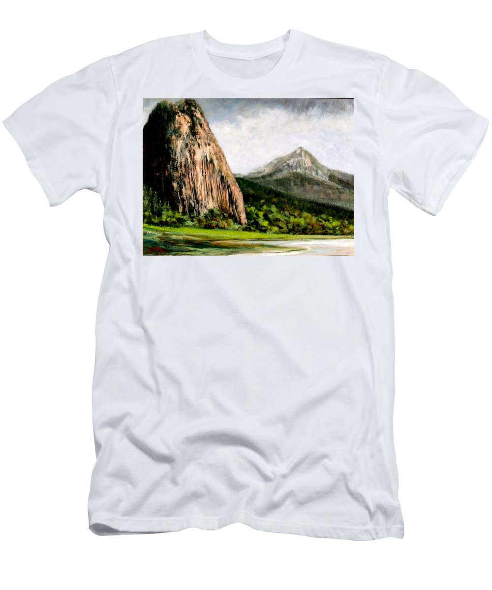 Landscape Men's T-Shirt (Athletic Fit) featuring the painting Beacon Rock Washington by Jim Gola
