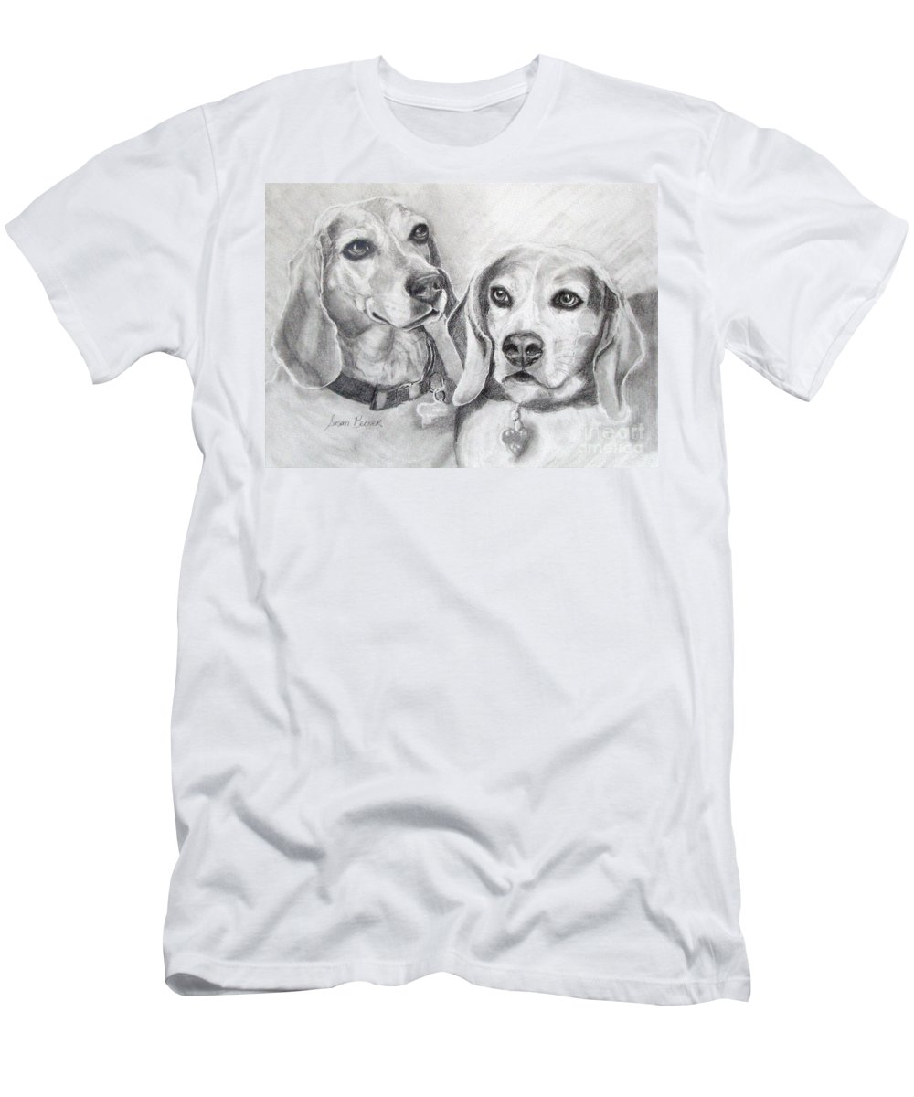 Dogs Men's T-Shirt (Athletic Fit) featuring the drawing Beagle Boys by Susan A Becker