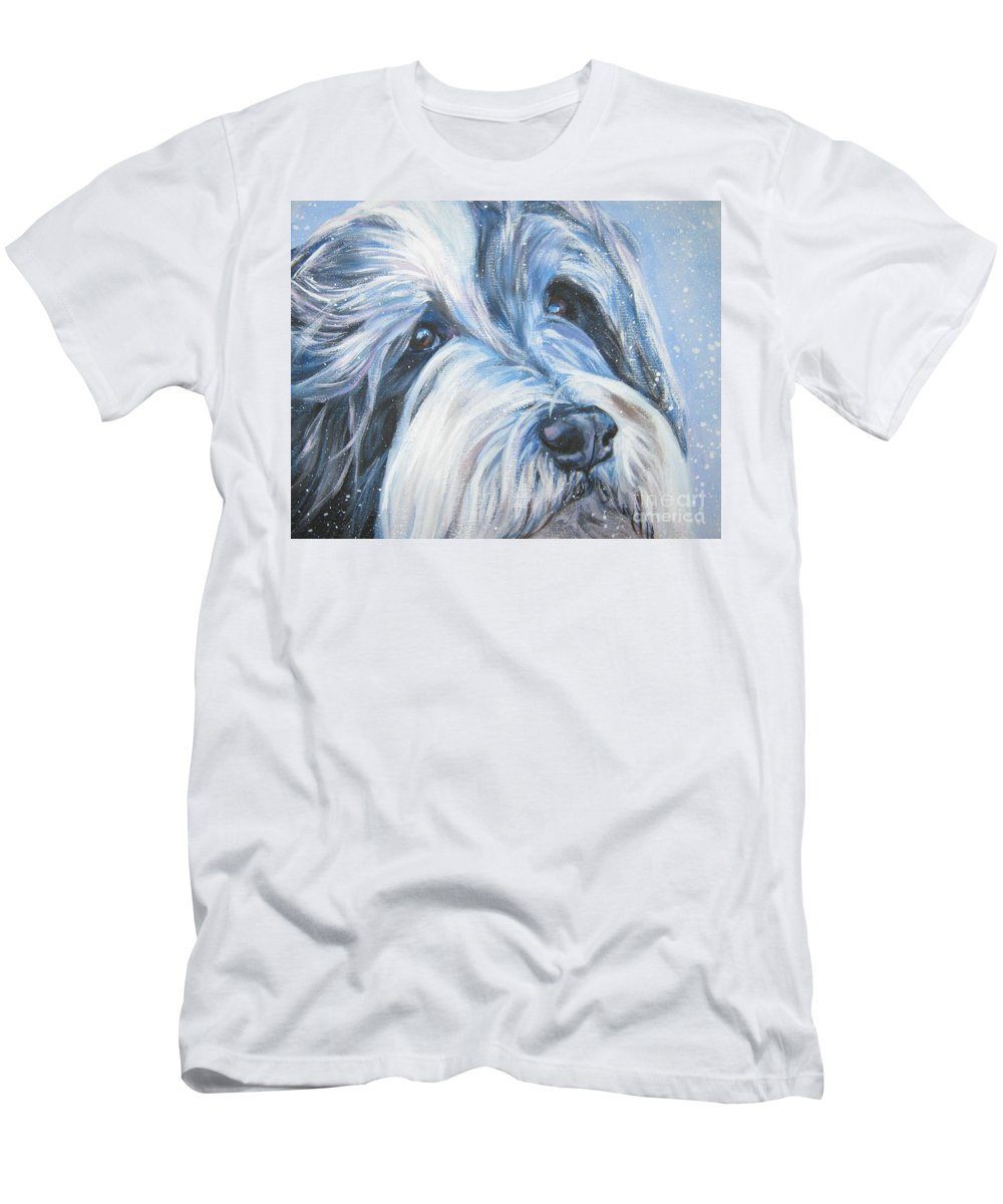 Dog Men's T-Shirt (Athletic Fit) featuring the painting Bearded Collie Up Close In Snow by Lee Ann Shepard
