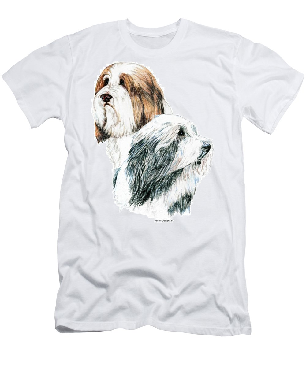 Bearded Collies Men's T-Shirt (Athletic Fit) featuring the drawing Bearded Collies by Kathleen Sepulveda