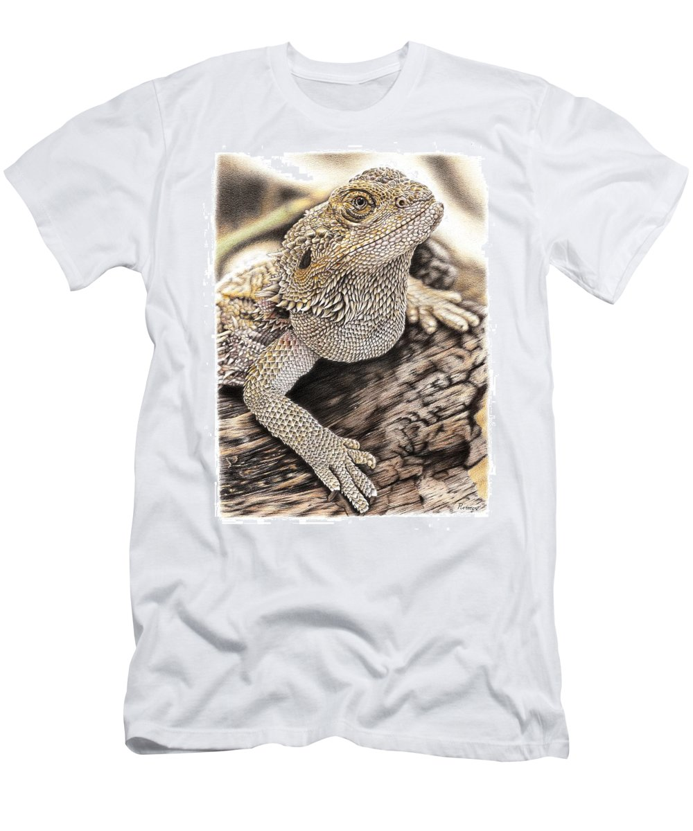 Bearded Dragon Men's T-Shirt (Athletic Fit) featuring the drawing Bearded Dragon by Remrov