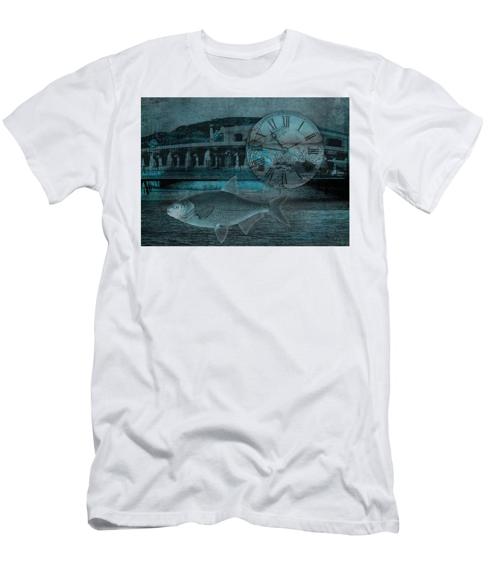 Clock Men's T-Shirt (Athletic Fit) featuring the digital art Beating The Blues by Sarah Vernon