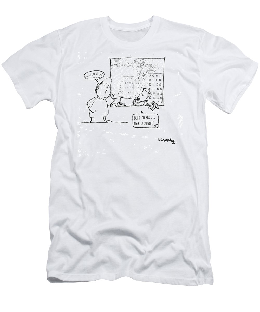 Humor Men's T-Shirt (Athletic Fit) featuring the drawing Beau Temps Pour La Saison by Line Gagne