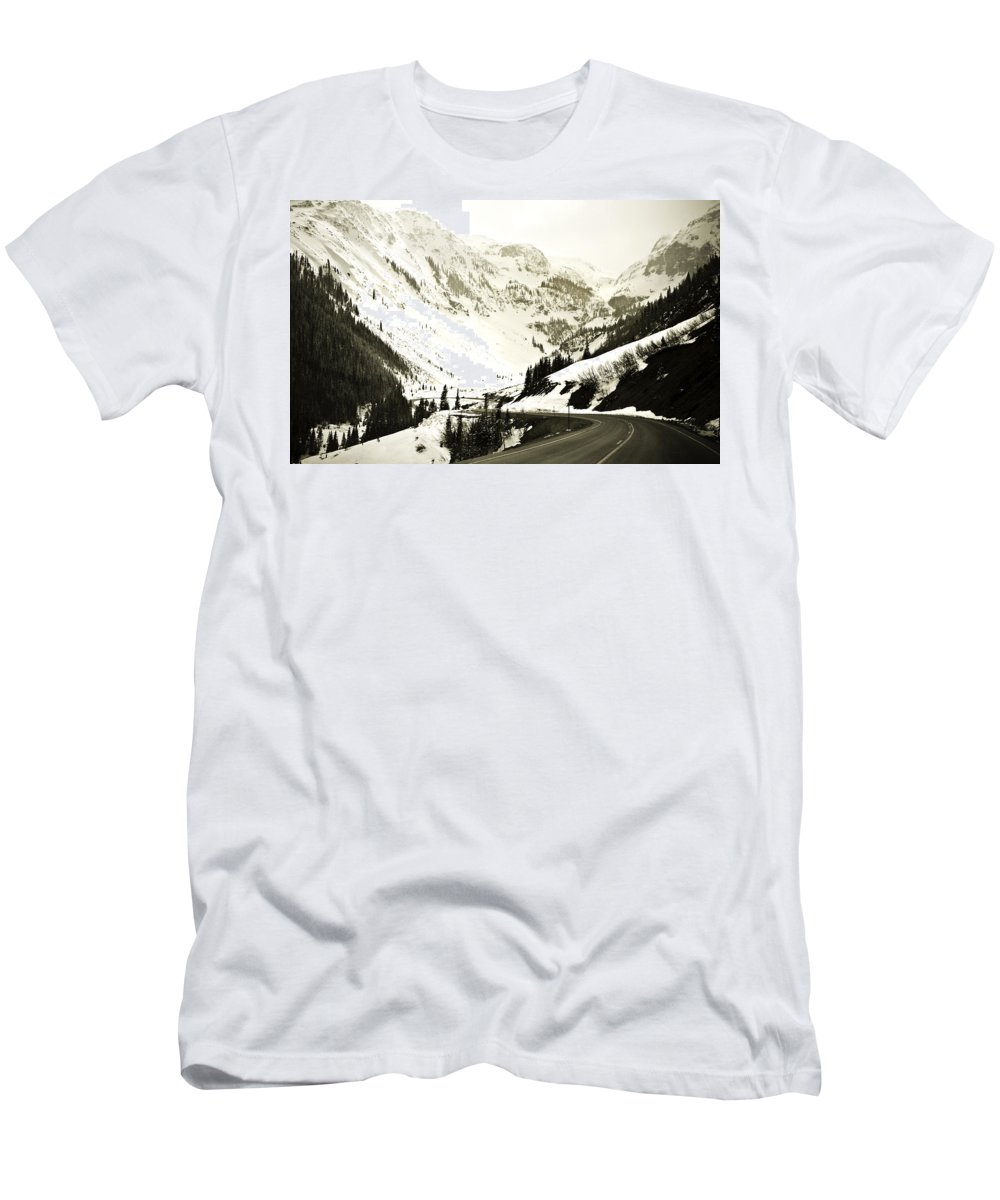 Mountains Men's T-Shirt (Athletic Fit) featuring the photograph Beautiful Curving Drive Through The Mountains by Marilyn Hunt