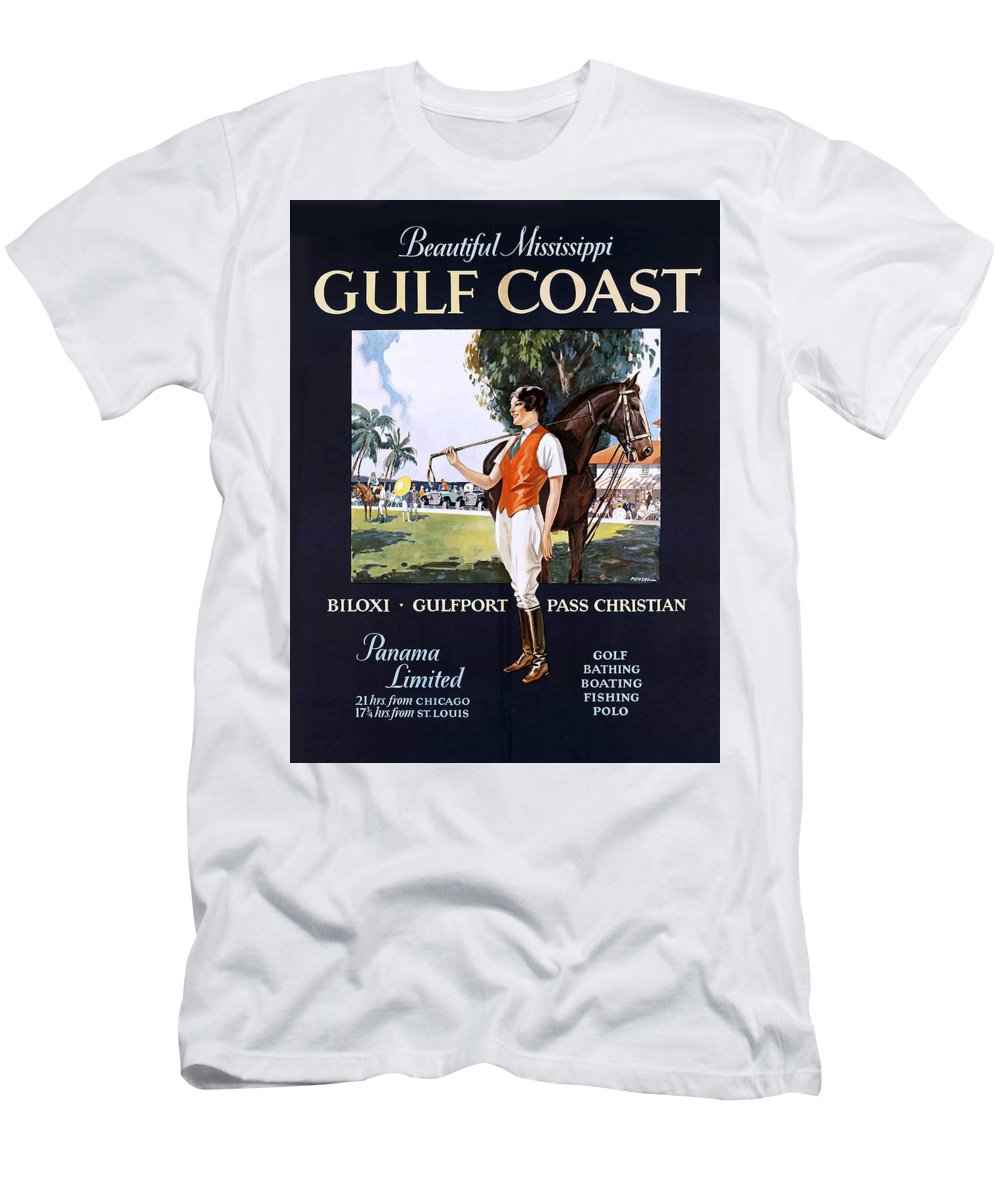 Gulf Men's T-Shirt (Athletic Fit) featuring the painting Beautiful Mississippi, Gulf Coast by Long Shot