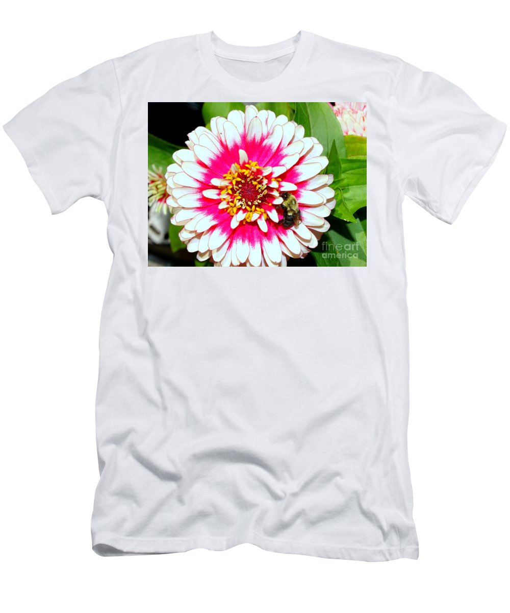 Nature Men's T-Shirt (Athletic Fit) featuring the photograph Beauty And The Bee #1 by Ed Weidman