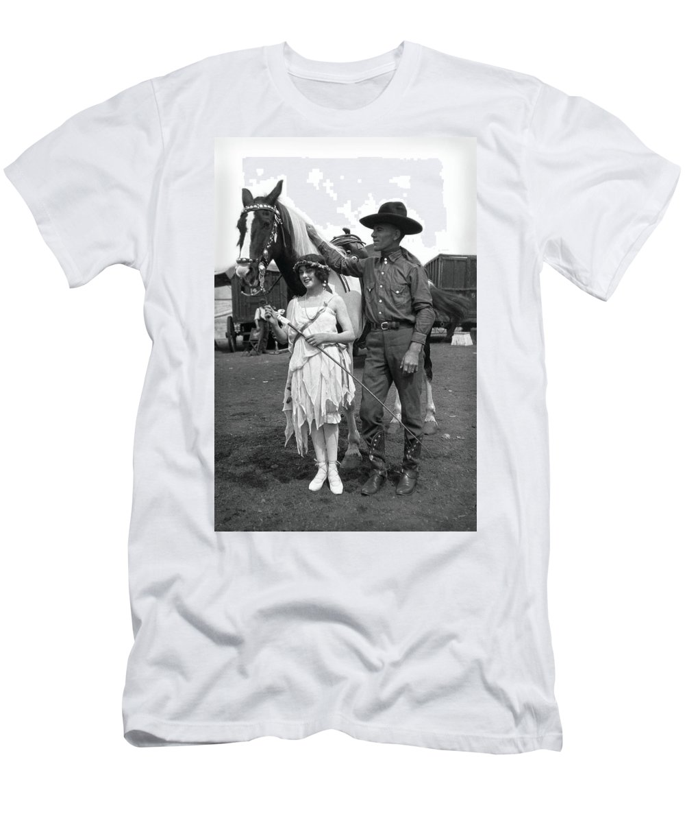 Circus Men's T-Shirt (Athletic Fit) featuring the photograph Beauty And The Cowboy by Unknown