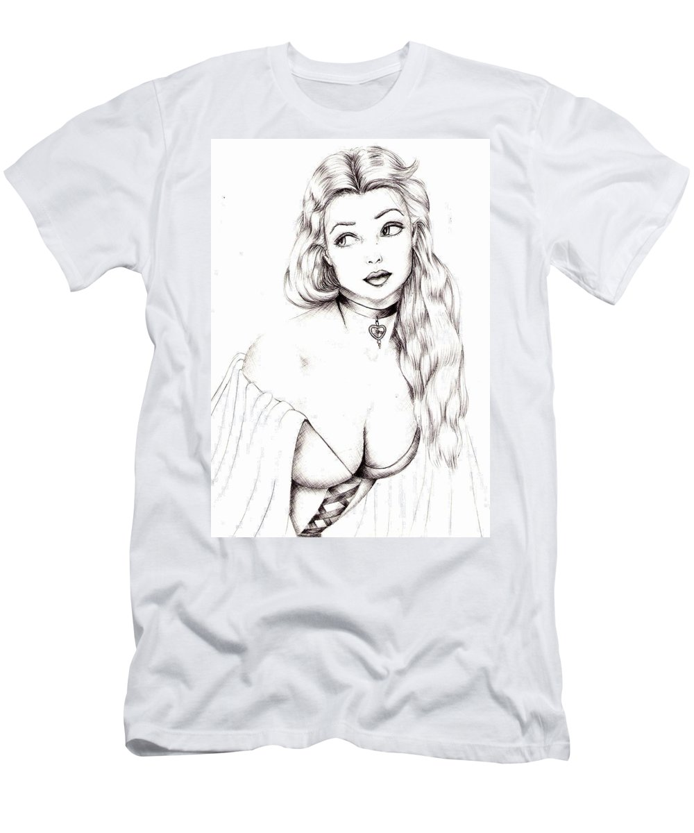 Figure T-Shirt featuring the drawing Beauty by Scarlett Royal