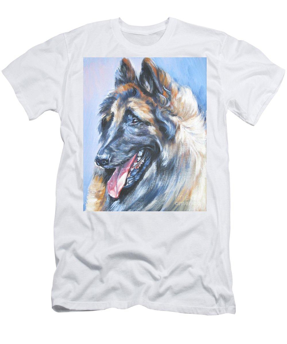 Belgian Tervuren Men's T-Shirt (Athletic Fit) featuring the painting Belgian Tervuren by Lee Ann Shepard