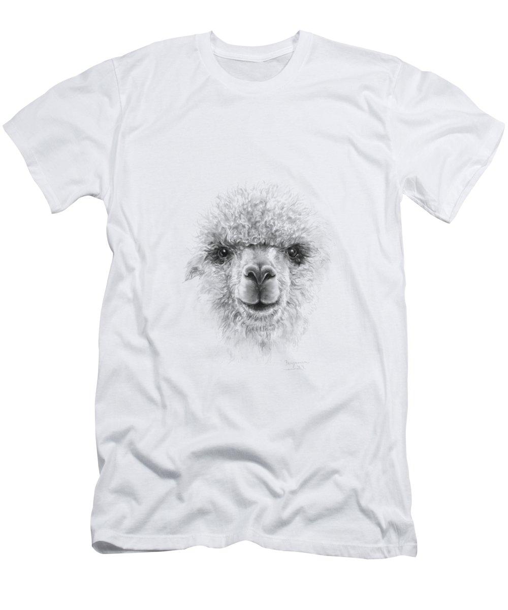 Llama Art Men's T-Shirt (Athletic Fit) featuring the drawing Benjamin by K Llamas