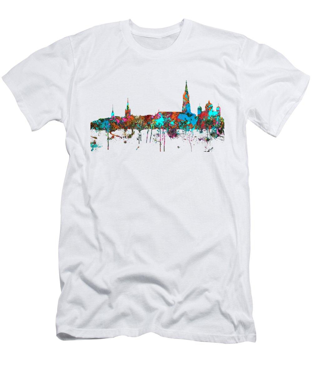 Berne Switzerland Skyline Men's T-Shirt (Athletic Fit) featuring the digital art Berne Switzerland Skyline by Marlene Watson