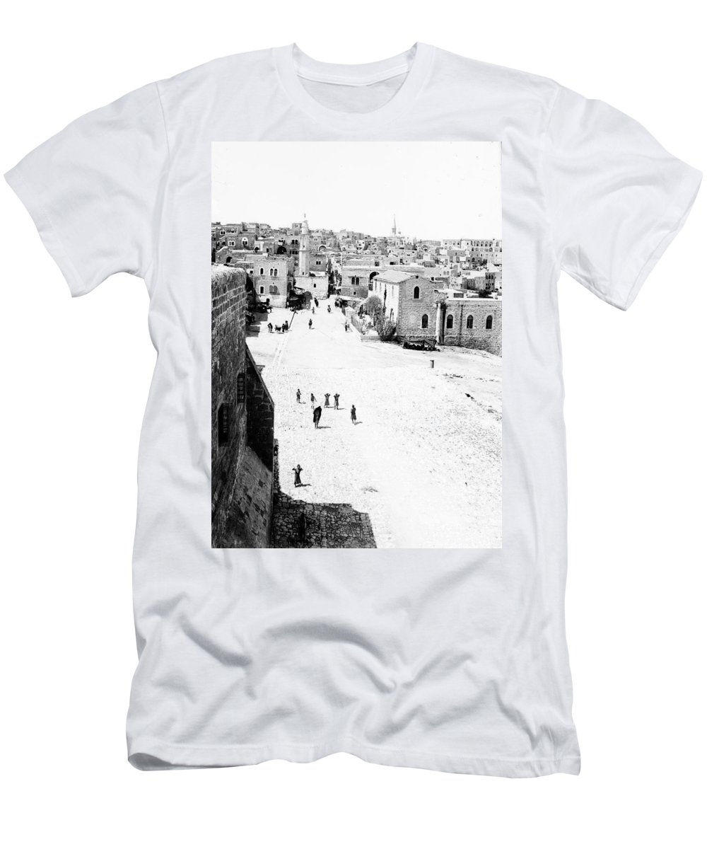 Bethlehem Men's T-Shirt (Athletic Fit) featuring the photograph Bethlehem 1889s by Munir Alawi