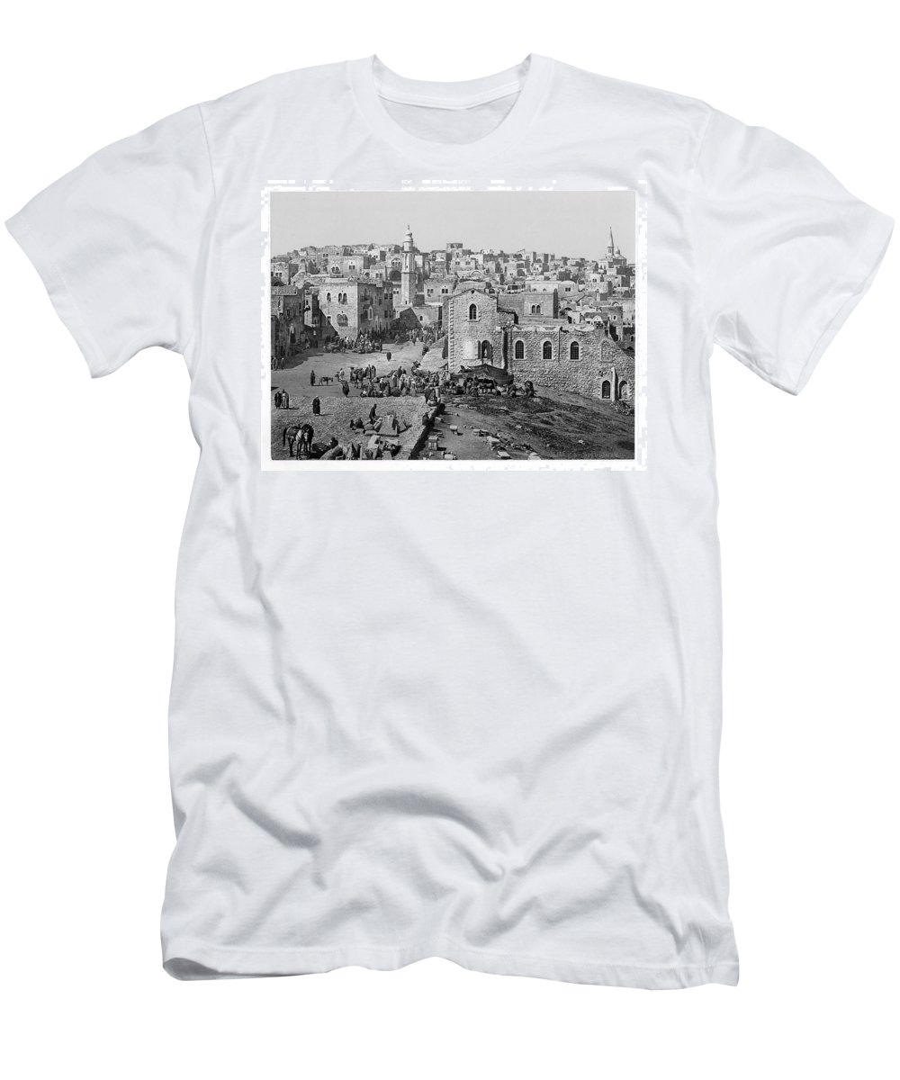 Bethlehem Men's T-Shirt (Athletic Fit) featuring the photograph Bethlehem Year 1890 by Munir Alawi