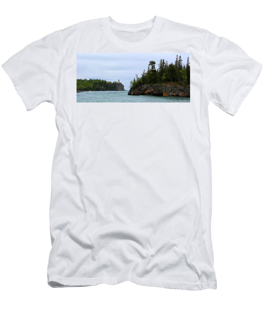 Lighthouse Men's T-Shirt (Athletic Fit) featuring the photograph Between Rocks Panorama by Bonfire Photography