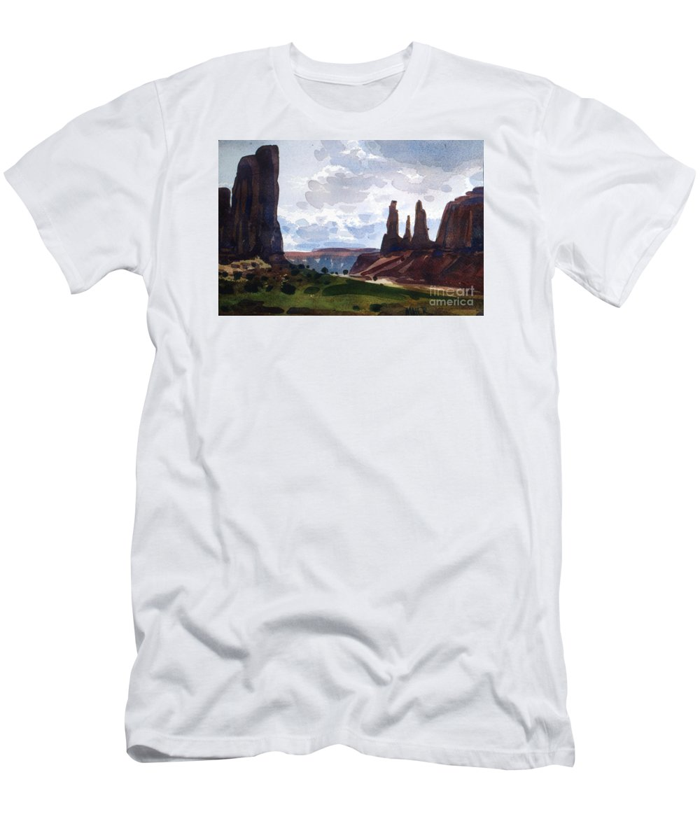 Three Sisters Men's T-Shirt (Athletic Fit) featuring the painting Between The Buttes by Donald Maier