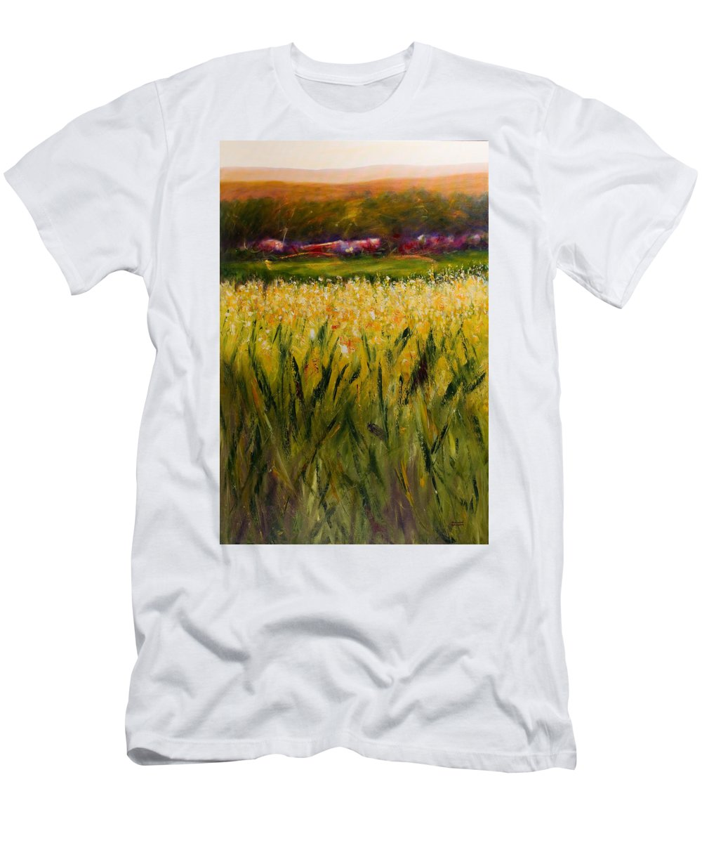 Landscape Men's T-Shirt (Slim Fit) featuring the painting Beyond The Valley by Shannon Grissom
