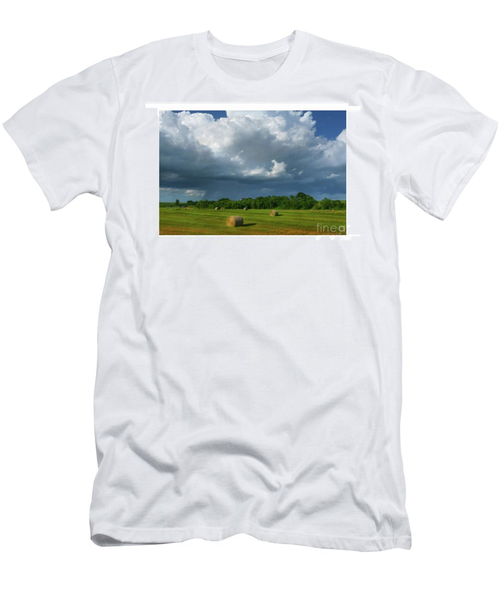 Landscape Men's T-Shirt (Athletic Fit) featuring the photograph Big Sky-brief Shower by Bruce Morrison