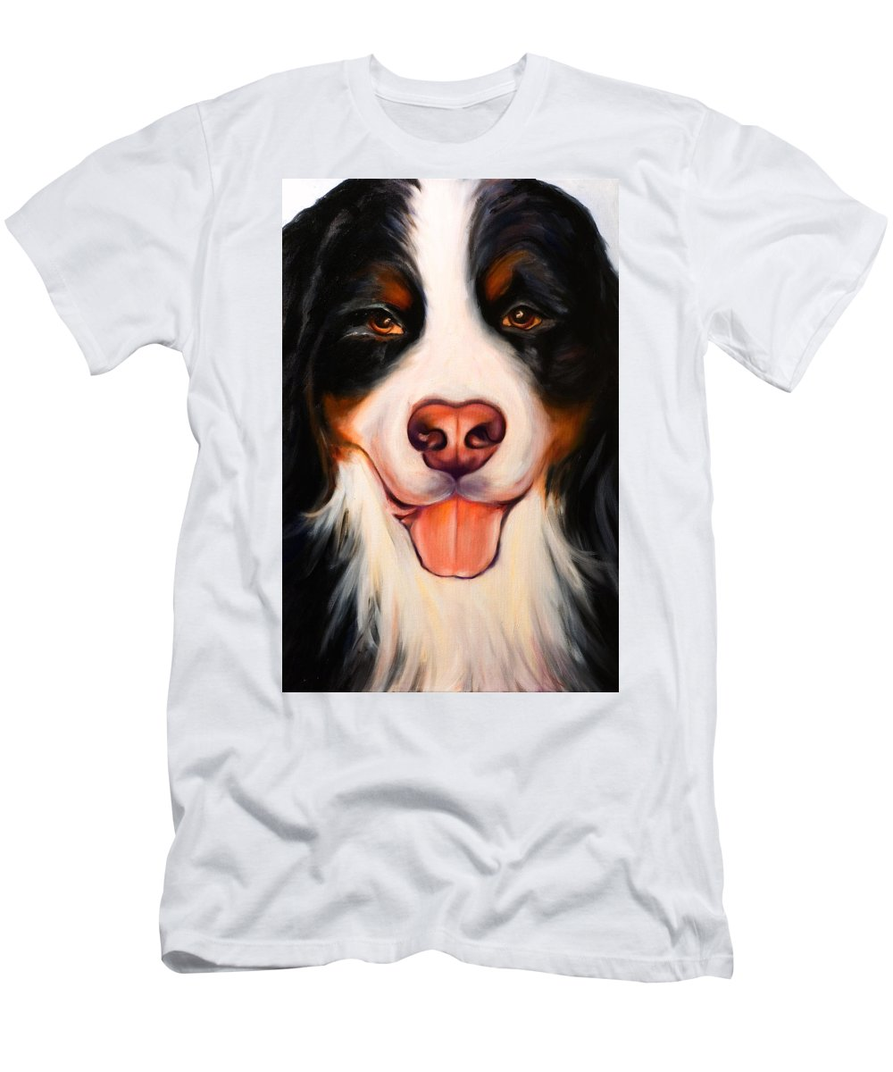 Dog Men's T-Shirt (Slim Fit) featuring the painting Big Willie by Shannon Grissom