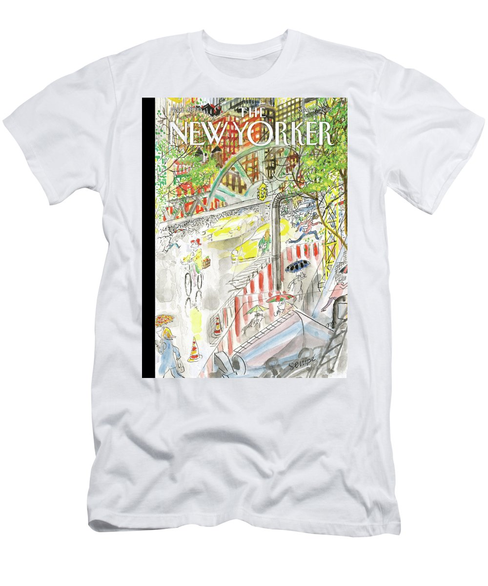 Biking In The Rain T-Shirt featuring the painting Biking in the Rain by Jean-Jacques Sempe