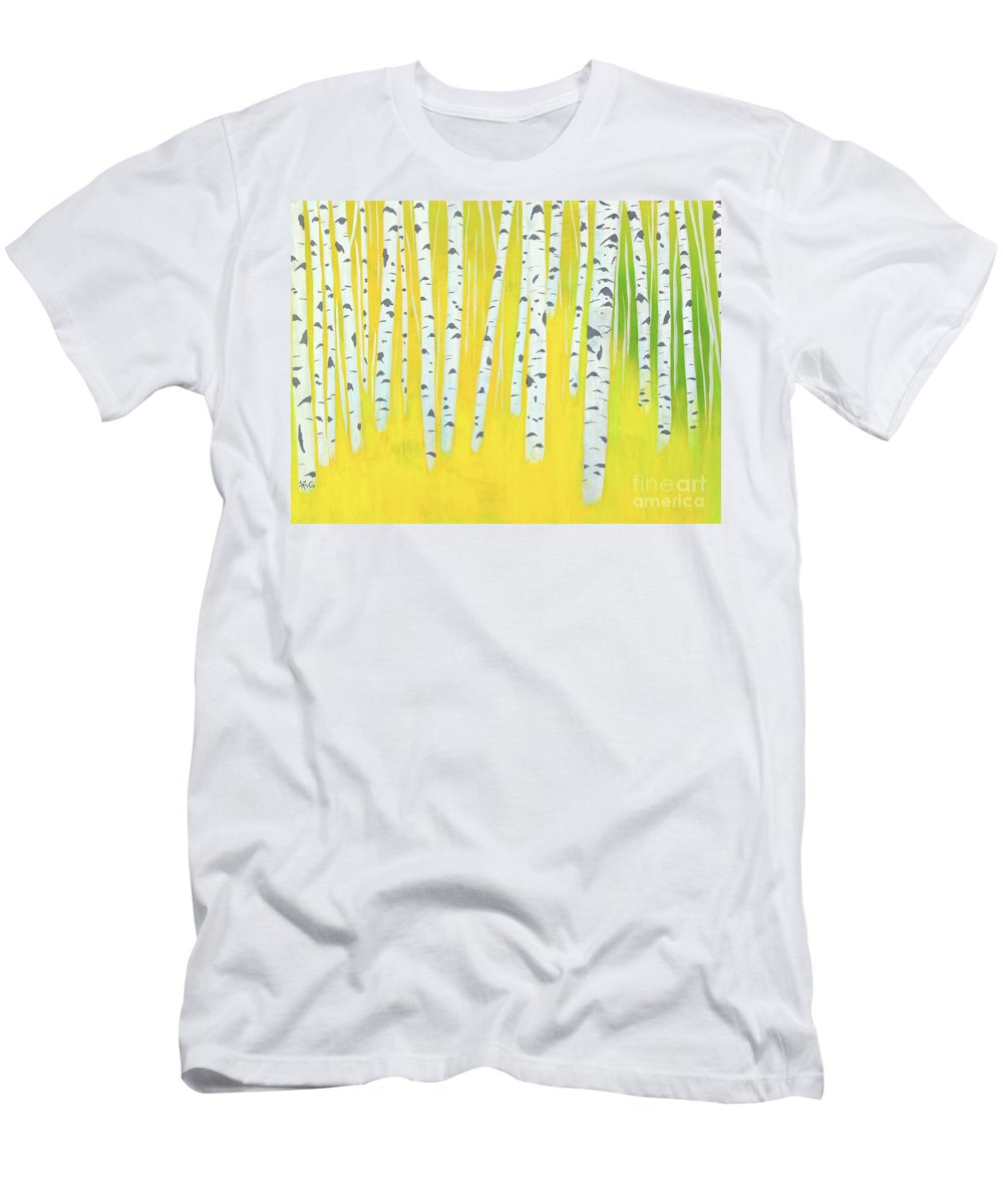 Birch Woods Men's T-Shirt (Athletic Fit) featuring the painting Birch Woods by Wonju Hulse