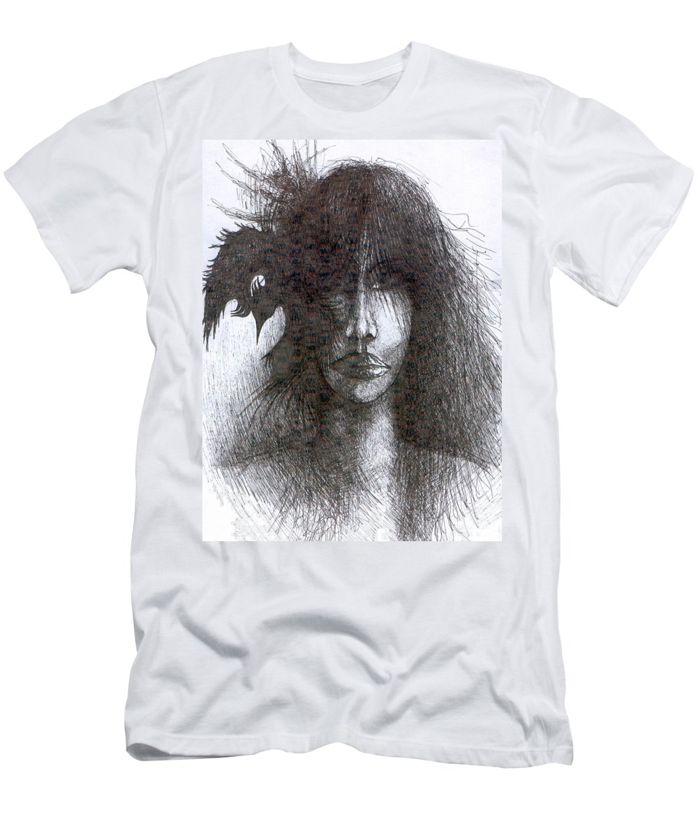 Psychedelic Men's T-Shirt (Athletic Fit) featuring the drawing Bird In Hair by Wojtek Kowalski