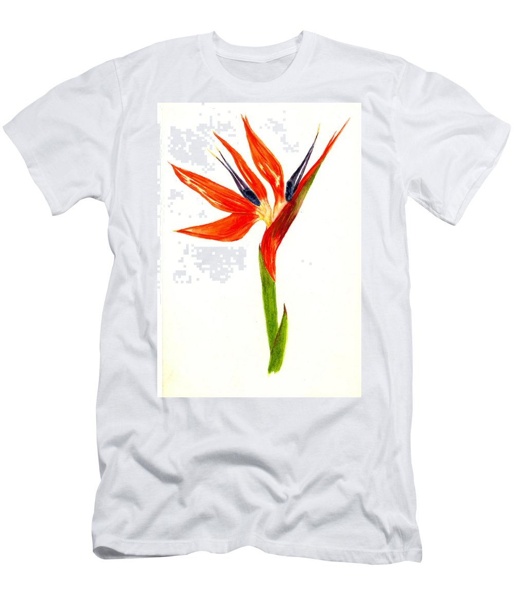 Flower Men's T-Shirt (Athletic Fit) featuring the painting Bird Of Paradise by Michael Vigliotti