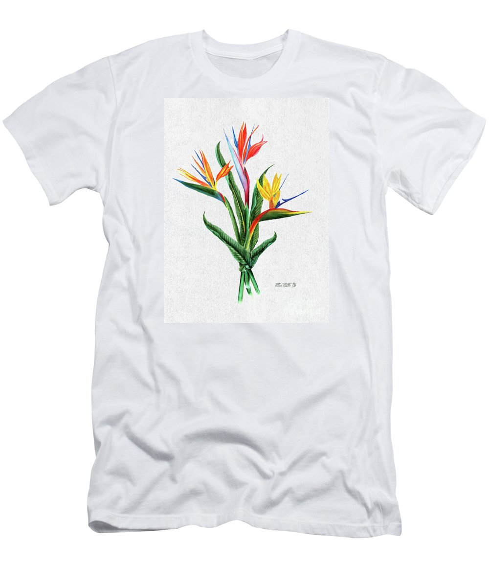 Bird Of Paradise Men's T-Shirt (Athletic Fit) featuring the painting Bird Of Paradise by Peter Piatt