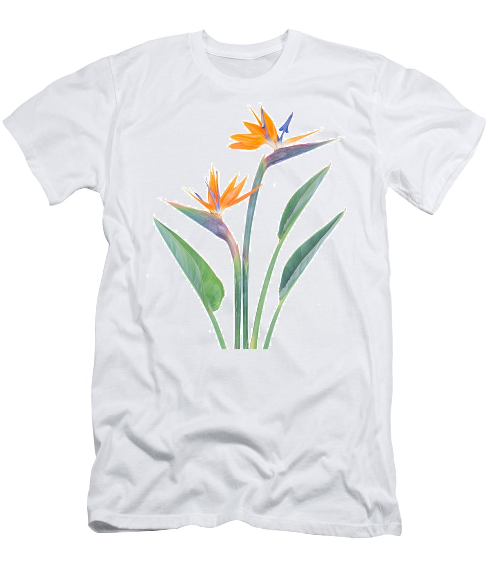 Strelitzia Men's T-Shirt (Athletic Fit) featuring the photograph Bird Of Paradize Flowers by Anastasy Yarmolovich