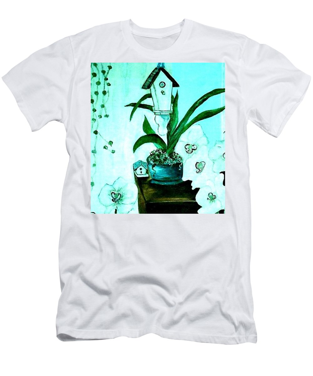 Orchid Men's T-Shirt (Athletic Fit) featuring the painting Birdhouse Orchid Garden by Kathleen W Jones