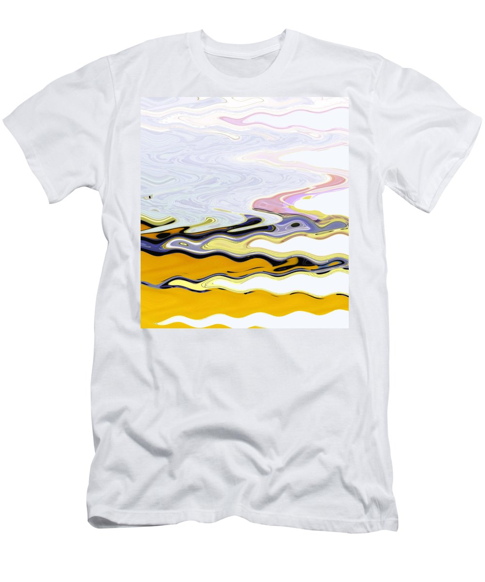 Abstract Men's T-Shirt (Athletic Fit) featuring the digital art Birds And Beach by Lenore Senior