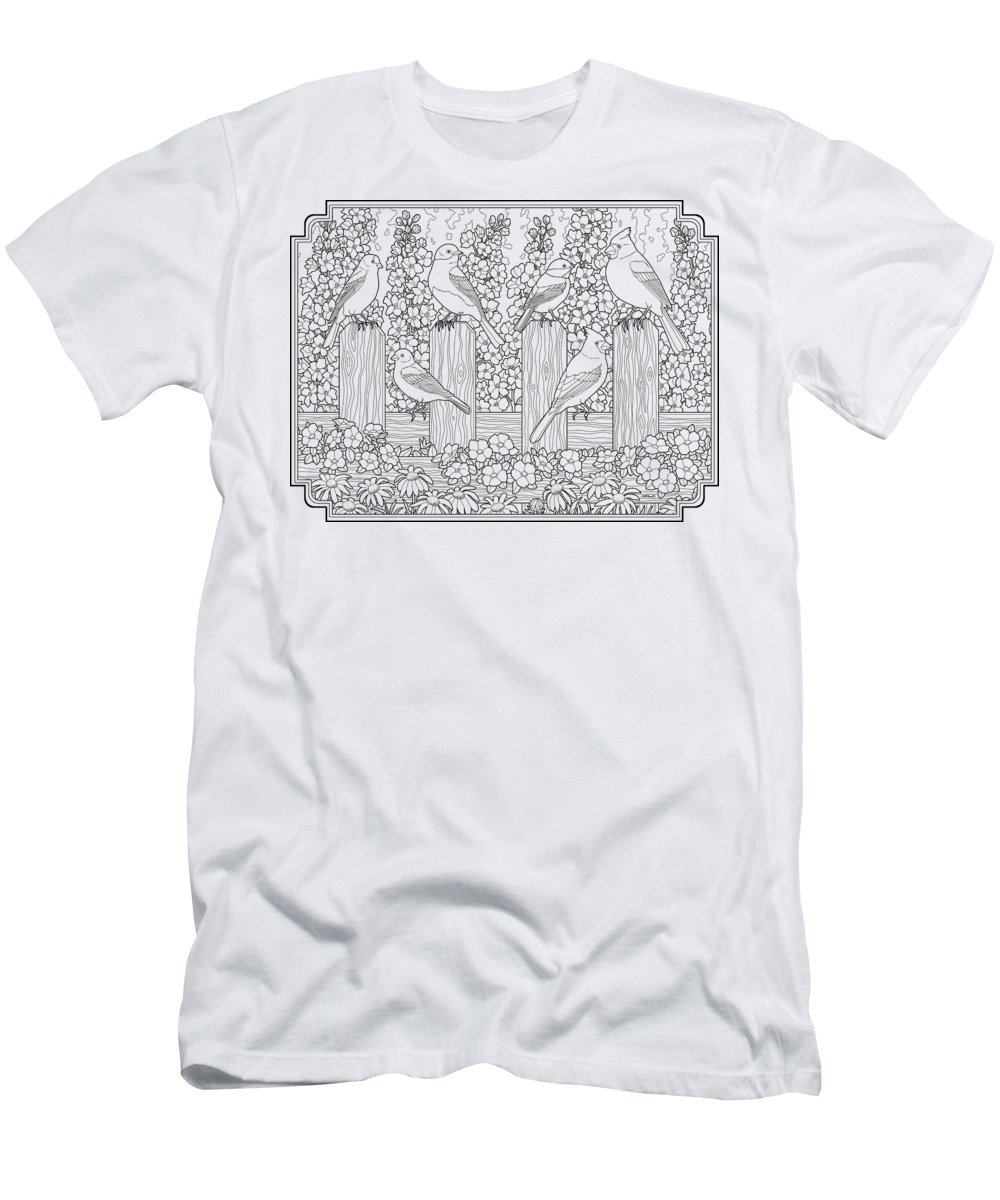 Birds Men's T-Shirt (Athletic Fit) featuring the painting Birds In Flower Garden Coloring Page by Crista Forest