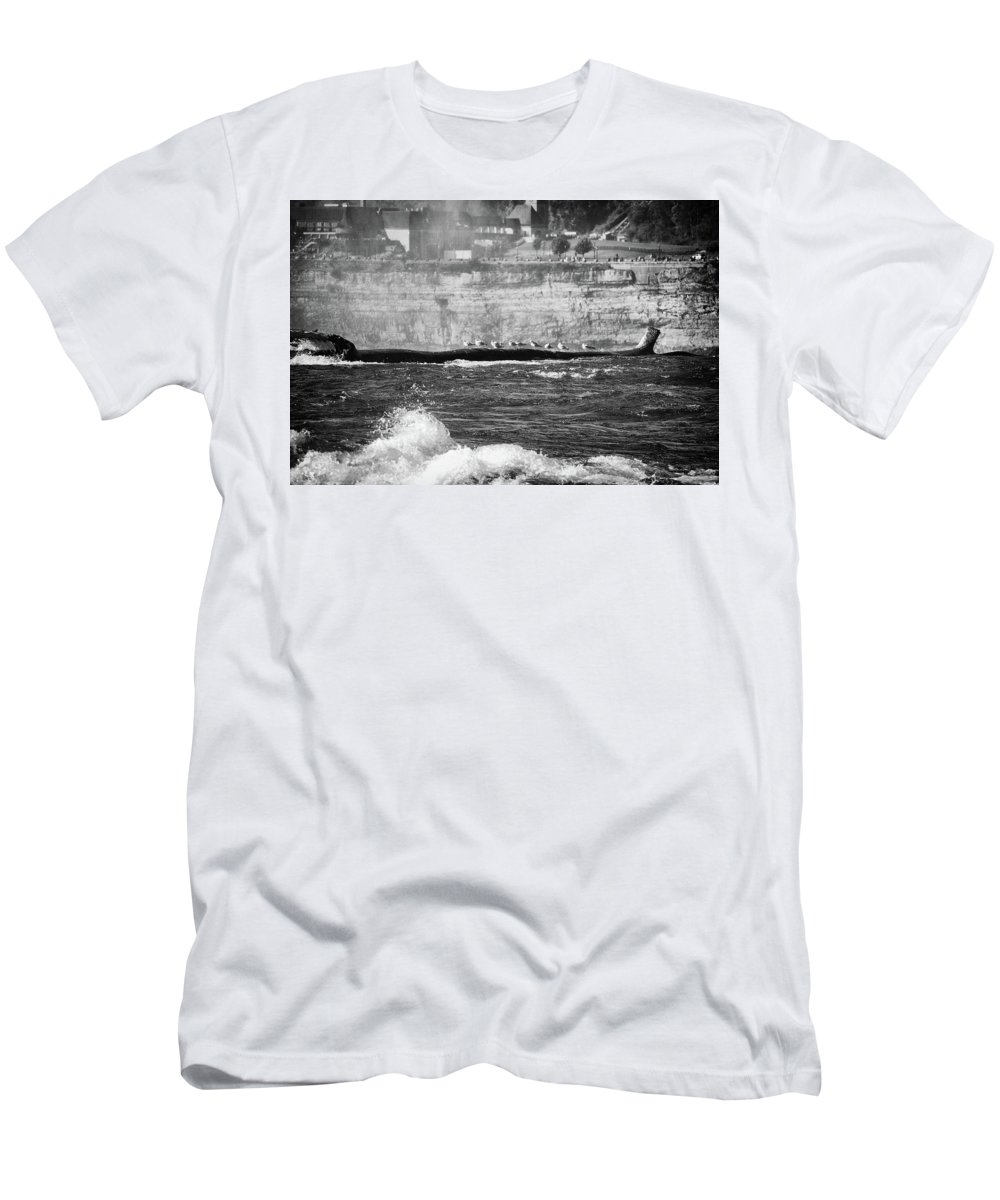 Men's T-Shirt (Athletic Fit) featuring the photograph Birds On A Log by Marvin Borst