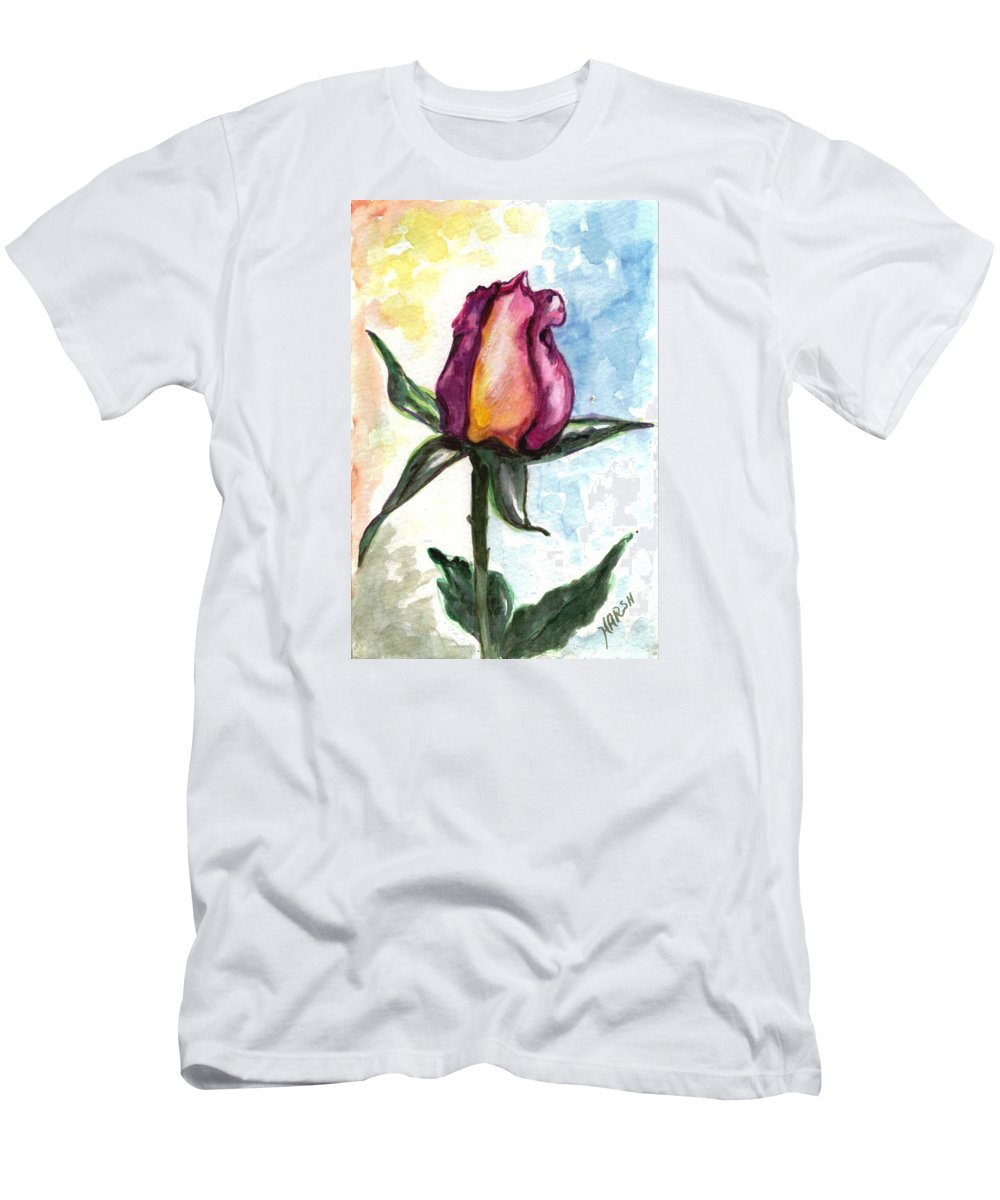 Flowers Men's T-Shirt (Athletic Fit) featuring the painting Birth Of A Life by Harsh Malik