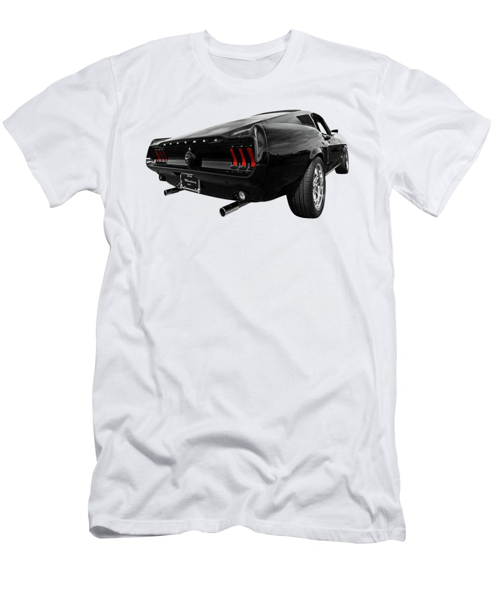 Classic Mustang Men's T-Shirt (Athletic Fit) featuring the photograph Black 1967 Mustang by Gill Billington
