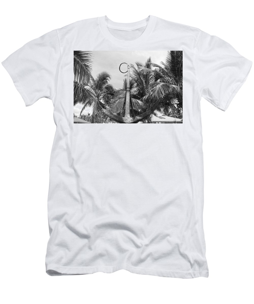 Black And White Men's T-Shirt (Athletic Fit) featuring the photograph Black And White Anchor by Rob Hans