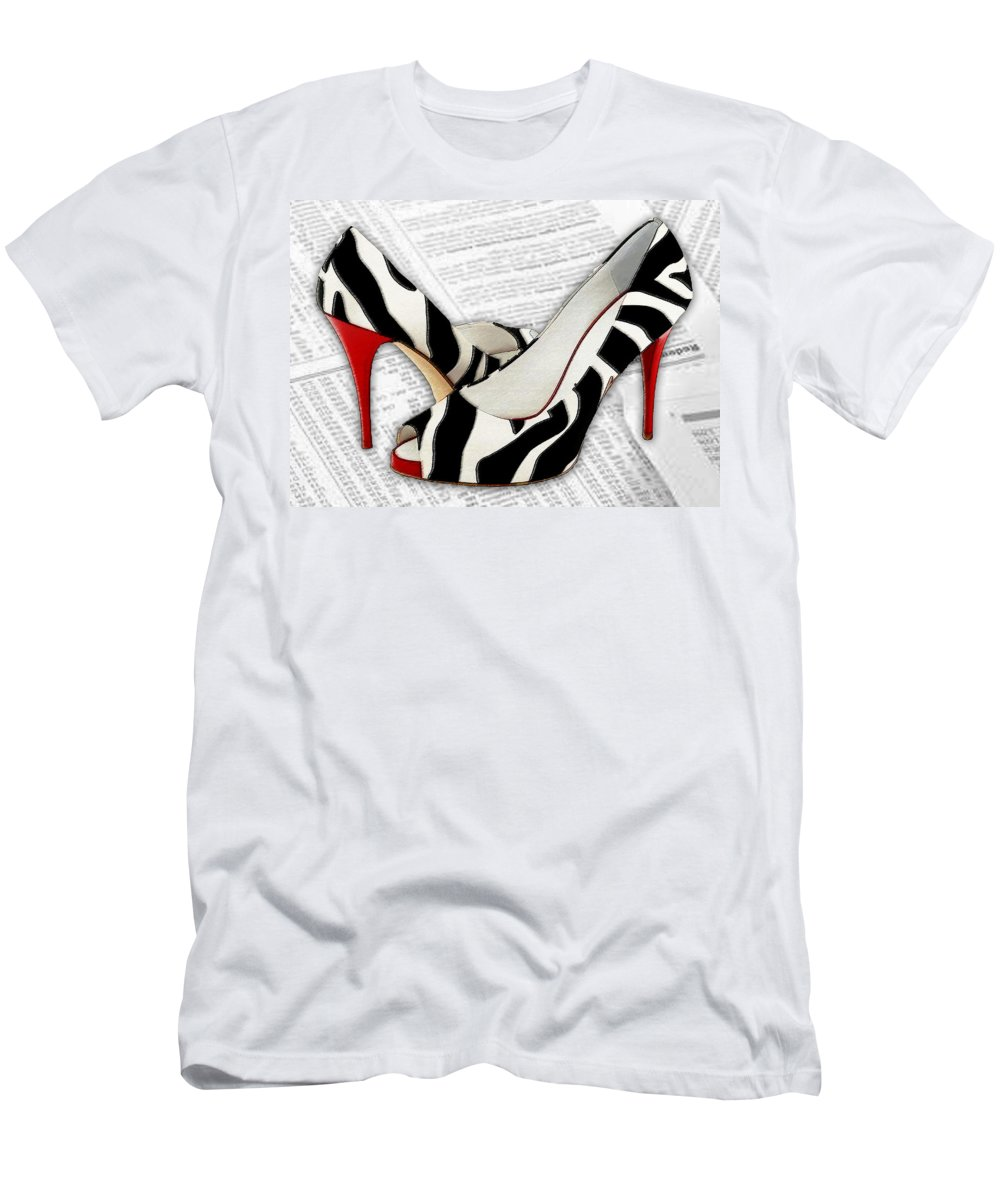 Shoes Heels Pumps Fashion Designer Feet Foot Shoe Men's T-Shirt (Athletic Fit) featuring the painting Black And White And Red All Over by Elaine Plesser
