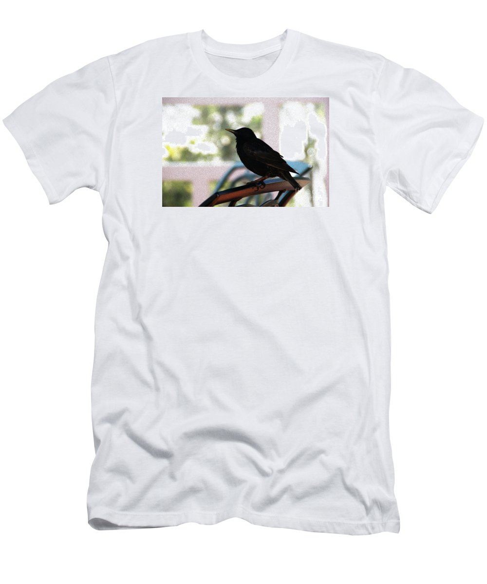 Black Bird Men's T-Shirt (Athletic Fit) featuring the photograph Black Bird by Linda Shafer