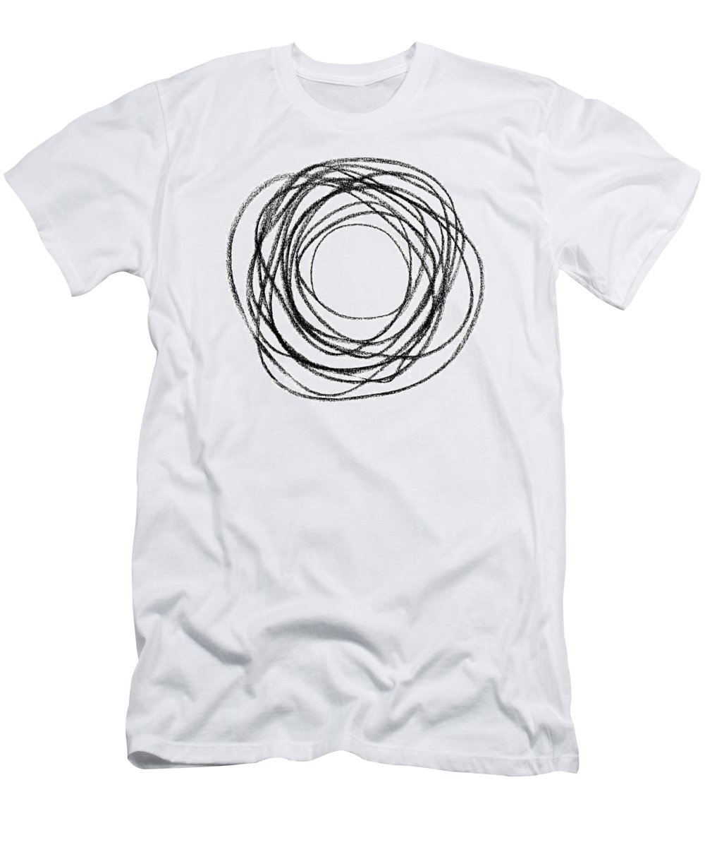 Circle Men's T-Shirt (Athletic Fit) featuring the photograph Black Doodle Circular Shape by GoodMood Art